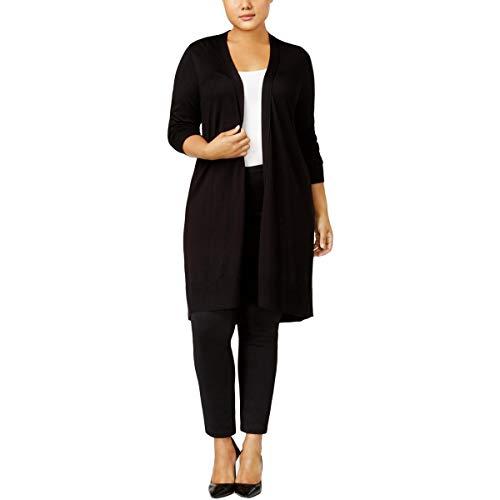 Alfani Womens Plus Office Wear Long Sleeves Duster Sweater Black 1X