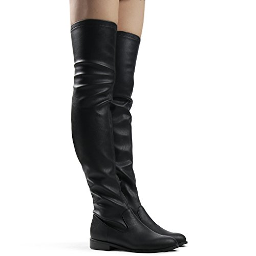 Bella Tall Boot - Women's Stretch Over The Knee Boot Bella Sexy Block Heel Pull-on Thigh High Boots Black PU 8