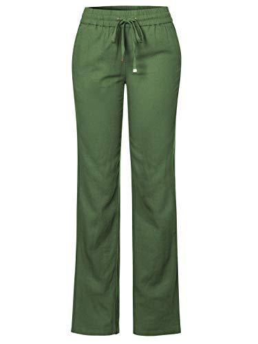 Design by Olivia Women's Comfy Drawstring Elastic Waist Linen Pants with Pocket Olive ()