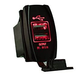 Mictuning Universal Rocker Style Car USB Charger - with Red LED Light Dual USB Power Socket for Rocker Switch Panel
