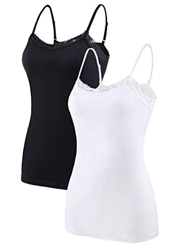 ATTRACO Lace Top Ladies Black Lace Trim Tank Spaghetti Strap Cotton 2 Packs M