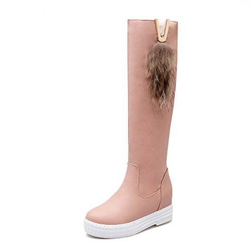 AmoonyFashion Womens Solid Round Closed Toe Blend Materials PU Knee-high Boots Pink