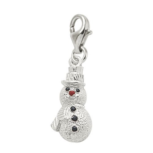 wman Charm with Lobster Clasp, 14k White Gold (14k Snowman)