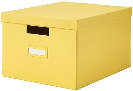 IKEA Tjena - Caja con tapa, amarillo - 27x35x20 cm: Amazon.es: Hogar