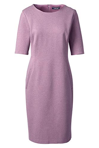 (Lands' End Women's Plus Size Ponte Knit Sheath Dress with Elbow Sleeves, 22W, Mauve Orchid Heather)