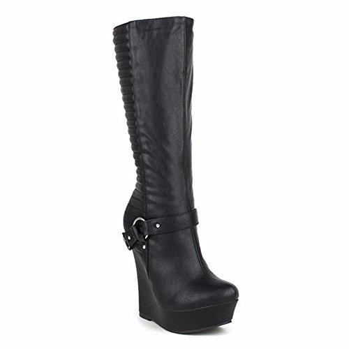 Impermeable Negro uk eur40uk7 Talón Cinturón Metal Black Zapatos Tobillo Otoño Botas Cabeza 43 Nvxie Eur Invierno Locomotora Cuero Cuña 9 Mujeres Ronda Cadena qBxHHOw46