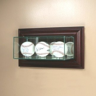 (Perfect Cases Wall Mounted Glass Triple Baseball Display Case with Mirror)