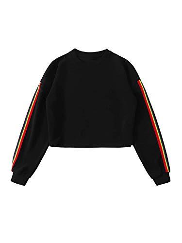 SweatyRocks Women's Rainbow Striped Long Sleeve Crewneck Pullover Crop Top Sweatshirt