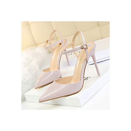 Women Pointed Toe High Heels Shoes Woman Shallow Buckle Strap Party Wedding Purple 7