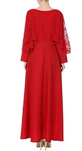 Muslim O Womens Long Neck 2 Sleeve Long Stitching Islamic Lace Dress Jaycargogo Robe X8xq6wdB6