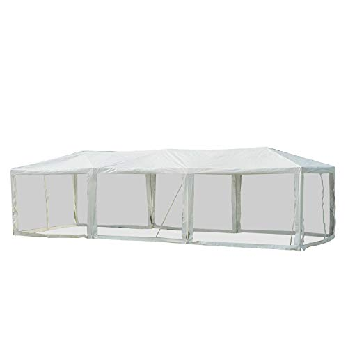 Outsunny 10' x 30' Gazebo Canopy Cover Tent with Removable Mesh Side Walls - White