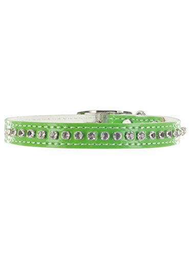 "Kakadu Pet Hollywood Rhinestone Dog or Cat Collar with Bell, 3/8"" x 12"", Green"