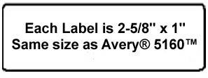 3,000 Label Outfitters 2.625 x 1 (2-5/8 x 1) Matte Clear LASER Only Labels (100 Sheets)