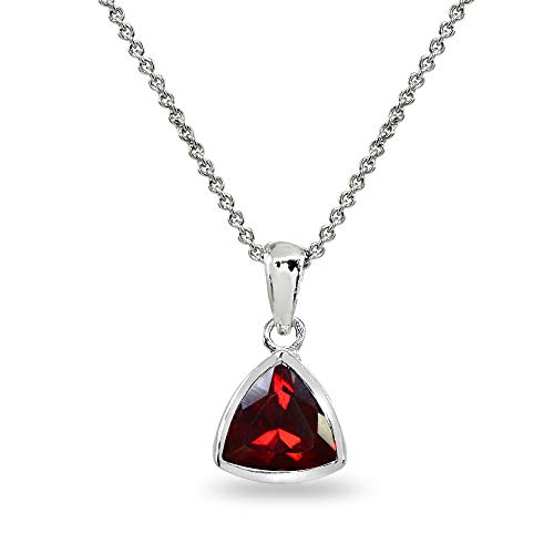 Sterling Silver Created Ruby 8mm Trillion Bezel-Set Dainty Pendant Necklace for Women, Teen Girls