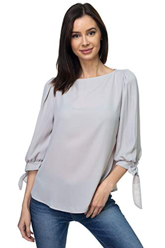 VIA Jay Women's Basic Casual Relaxed Loose 3/4 Sleeve Blouse Top (Silver Grey, Small)