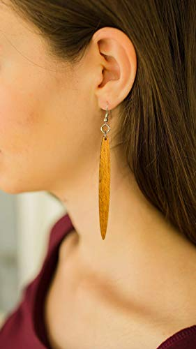 Icicle Shape Long Skinny Natural Wood Earrings from Solid Reclaimed Mahogany