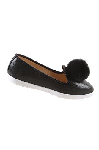 Hadari Womens Fashion Casual Slip On Black Pom Pom Flat Shoes