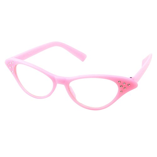 50s Womens Costume Cat Eye Glasses Adult Size with Rhinestone ()