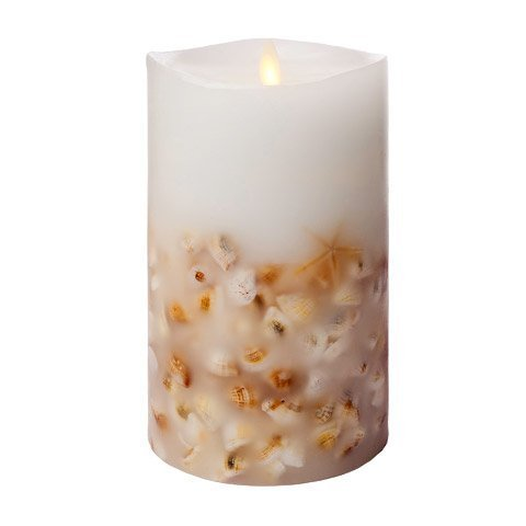 Luminara Seashell Unscented Pillar Candle 7''