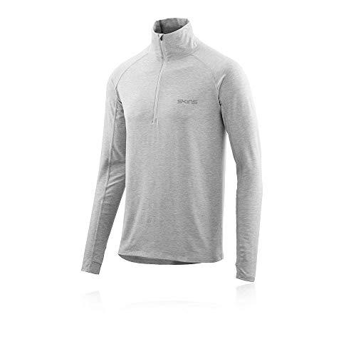 Marle Zip - Skins Activewear Unden Light Midlayer Mens L/s Fleece 1/2 Zip Silv, Silver Marle, Medium