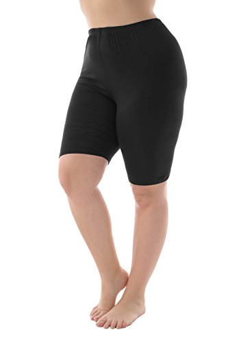 Zerdocean Leggings Women's Modal Plus Size Mid Thigh Shorts Black 3XL