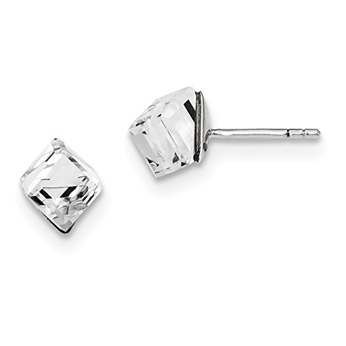 925 Sterling Silver 6mm Crystal Cube Post Stud Earrings Fine Jewelry Gifts For Women For Her ()