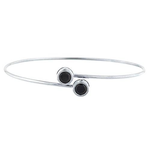 Elizabeth Jewelry Genuine Black Onyx Round Bezel Bangle Bracelet .925 Sterling Silver Rhodium Finish