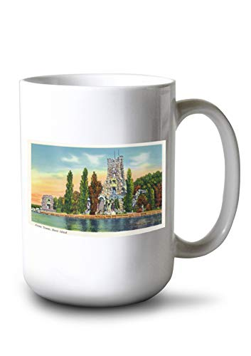 Lantern Press Thousand Islands, New York - Heart Island View of Alster Tower (15oz White Ceramic Mug)