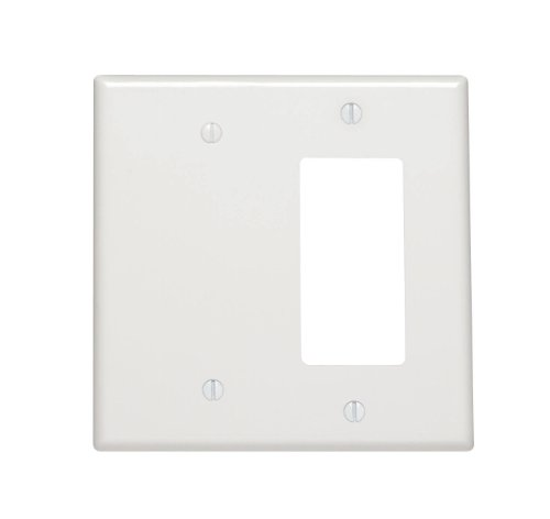 Leviton 80608-W 2-Gang 1-Blank 1-Decora/GFCI Device Combination Wallplate, Midway Size, Thermoset, White