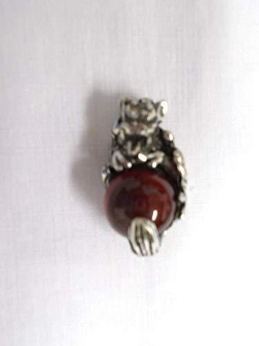 Ball Gargoyle (Gothic Creeping Gargoyle w DEEP RED Ball ORB CAST Pendant ADJ Necklace)