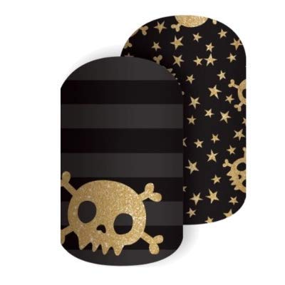 Jamberry Nail Wraps - Night Fright - Full Sheet - Halloween Black & Gold Skulls - Black & Grey Stripes… -