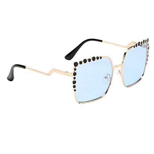 ojo Lente de Espejo UV400 Sol Azul Mujer Solar Marco Gato Espejo marrón de Hombre Metal Protección Gafas Homyl claro para de Anteojos wSBAtt