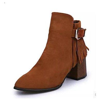 LvYuan-ggx Damen High Heels formale Schuhe Künstliche Mikrofaser Polyurethan PU Herbst Normal formale Schuhe Schwarz Grau Kamel 7,5 - 9,5 cm camel