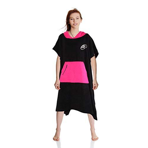 Bath Wrap Adult (Lightahead Cotton Surf Beach Hooded Poncho Changing Bath Robe Towel with Pocket (Black/Pink) (Adult))