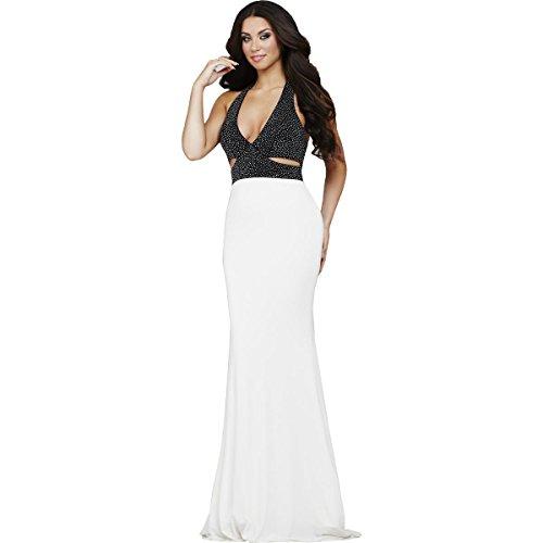 (Jovani Rhinestone Halter Formal Dress B/W 2 White/Black)