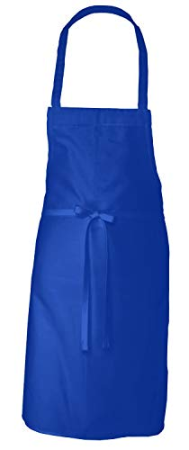 Elaine Karen Adult Men's Women's Unisex Chefs Bistro Adjustable Extra Long Ties, Professional Commercial Grade Bib Apron Blue - 4PK (Blue Bib Apron)