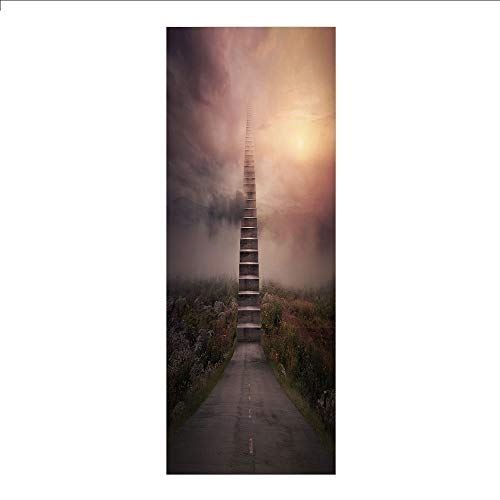 3D Decorative Film Privacy Window Film No Glue,Surrealistic,Ladder Going Up to Sky Foggy Air Enchanted Philosophical Scenery,Pale Mauve Olive Green,for Home&Office