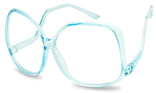 XL Oversize Plastic Square Swan Drop Temple Vintage Butterfly Eye Sun Glasses (Transparent Blue, - Sunglases Baby