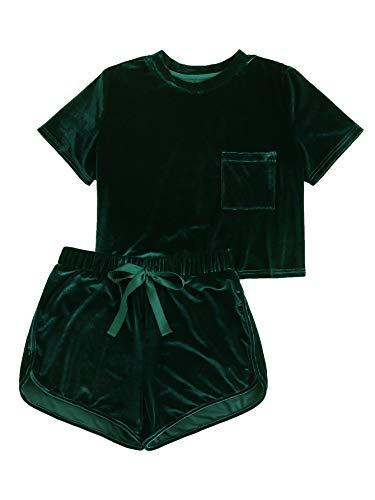 MAKEMECHIC Women's Vintage Velvet Pocket Crop Top Tee T-Shirt and Shorts Set Green M