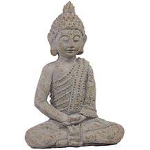 Urban Trends UTC50832 Cement Sitting Buddha Statue, Antique White