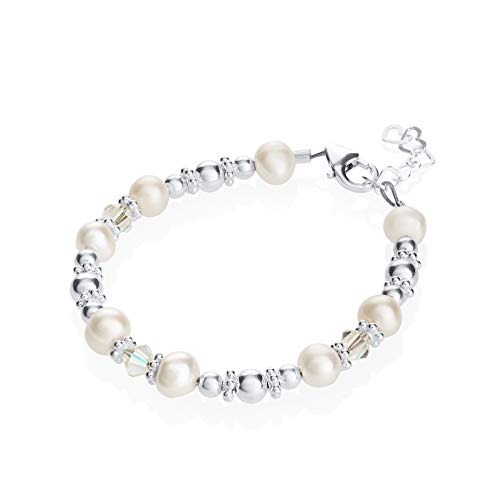 Elegant White Cultured Fresh Water Pearls and Swarovski Crystals with Sterling Silver Beads Luxury Keepsake Baby Girl Bracelet Gift (BFWSC_S+) ()