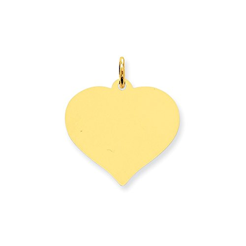Engravable Charm Disc (10k Yellow Gold Engravable Heart Disc Charm (1IN long x 0.8IN wide))