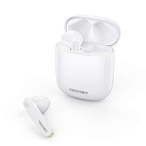 TECKNET Ecouteur Sans Fil, écouteurs Bluetooth 5.0 de lecture stéréo 3d HD Écouteurs sans fil avec Mic, Binaural Couplage Automatique d'appel, écouteurs sans fil avec étui de chargement portable