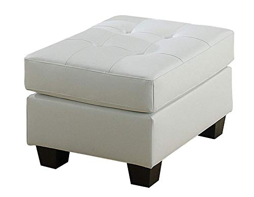 ACME 15098B Platinum Ottoman with White Bonded Leather