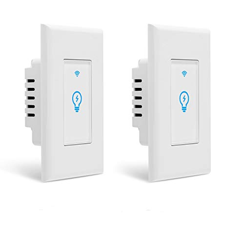 Smart Switch, Homeyard Smart Light Switch In-Wall WiFi Remote Control Wireless Single Pole Switch No Hub Required, Compatible with Alexa and Google Assistant (2 pack)