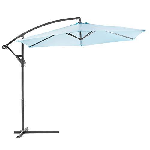 XtremepowerUS Deluxe 10' Offset Patio Umbrella Off Set Outdoor Market Umbrella (Aqua)