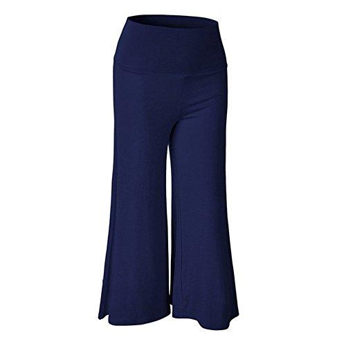 Women'S High Waist Solid Color Knit Pantalones anchos (Size: L)