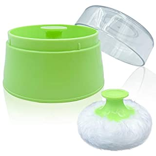 """BPA Free Baby Powder Puff Box, Large 2.8"""" Fluffy Body After-Bath Powder Case, Baby Care Face/Body Villus Powder Puff Container, Makeup Cosmetic Talcum Powder Container with Hand Holder (Green)"""
