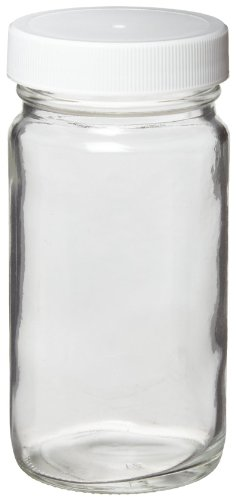 Wheaton W217004 AC Round Bottle, Clear Glass, Capacity 16oz With 70-400 White Polypropylene PTFE Faced Foamed Polyethylene Lined Screw Cap, Diameter 76mm x 145mm (Case Of 24)