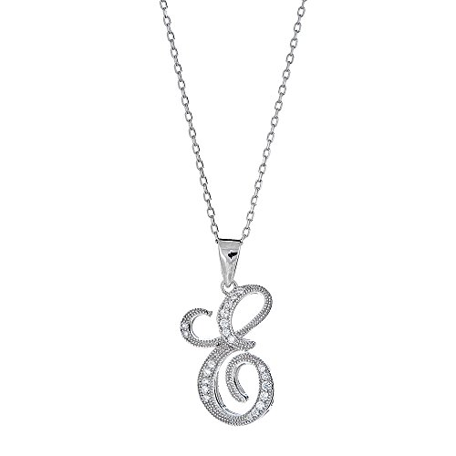 Platinum Plated 925 Sterling Silver Round CZ Fancy Satin Script Monogram Font Alphabet Initial E Pendant Necklace